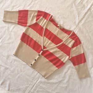 Orange tan stripe knit v-neck button down crop top
